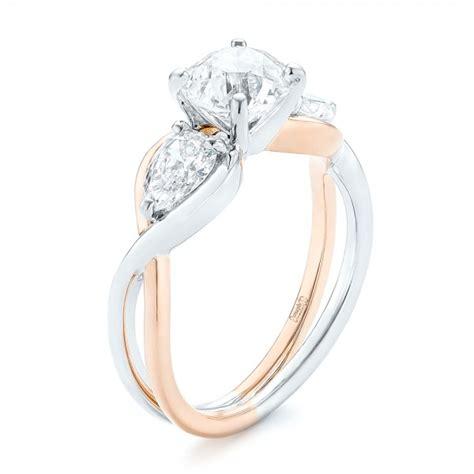 two tone engagement rings custom two tone three engagement ring 102912