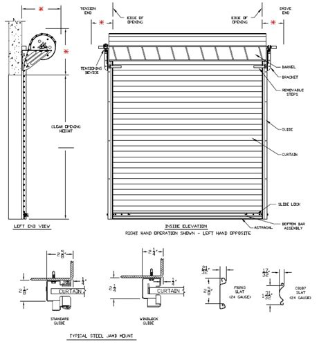 Overhead Door Specifications Model 2500 Rolling Steel Commercial Garage Door Heavy Duty Roll Up Rollup2500 Curtain