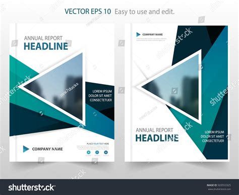 Annual Report Template Circle And Triangles Hossain Blue Triangle Abstract Annual Report Brochure Stock Vector