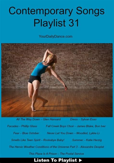 songs for contemporary contemporary songs playlist 31 songs dancers and