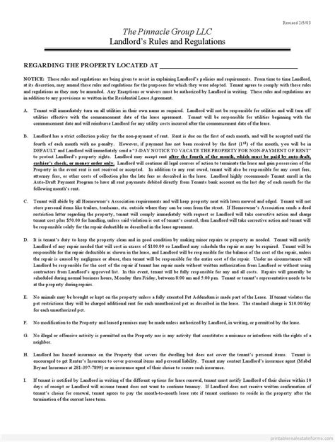 Printable Landlord Rules And Regulations Template 2015 Sle Forms 2015 Pinterest Real Intermediary Agreement Template