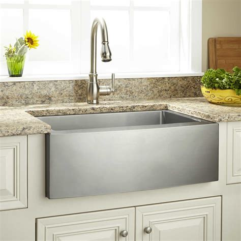 Stainless Farmhouse Kitchen Sinks 42 Quot Optimum 60 40 Offset Bowl Stainless Steel Farmhouse Sink Curved Front Kitchen