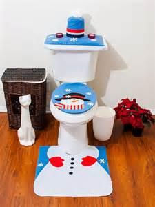 4 pcs santa bathroom toilet seat cover and rug