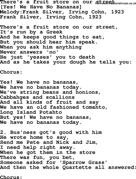 song for american song lyrics for there s a fruit store on