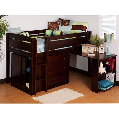 storage loft bed with desk canwood whistler storage loft bed with desk bundle walmart com