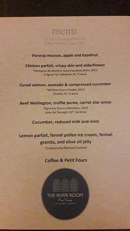 River Room Menu the menu picture of the river room tal y cafn
