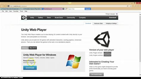 tutorial unity web player tutorial how to install a unity web player youtube