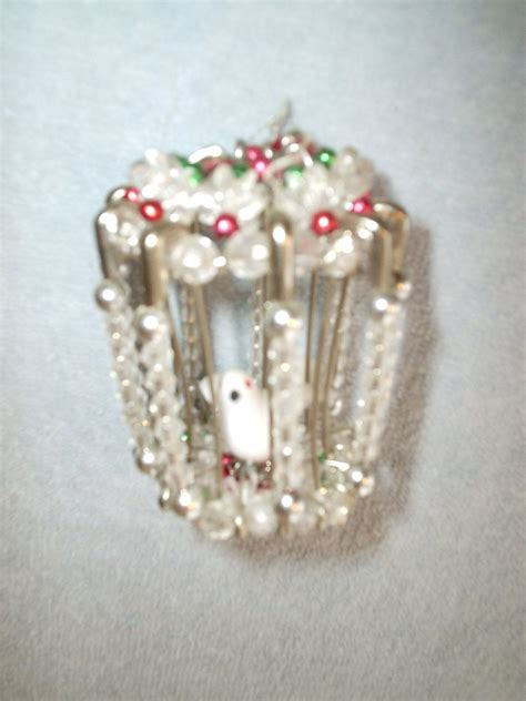 charming handmade pearl  safety pin birdcage ornament