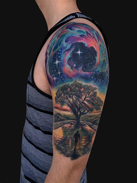tree half sleeve tattoo 45 galaxy tattoos for out of world experience