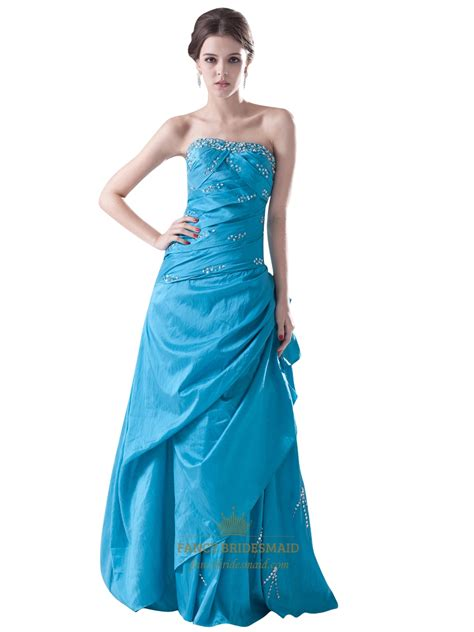 Blus Taffeta blue strapless beaded embellished taffeta prom dress with