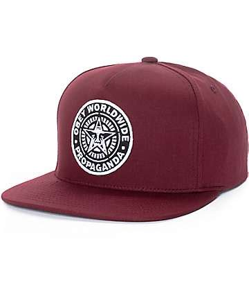 Topi Snapback Z Maroon obey hats obey snapbacks 5 panel hats zumiez