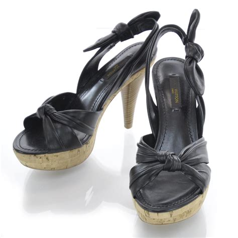 louis vuitton porto cervo louis vuitton leather porto cervo slingback heels 36 black