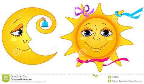 imagenes de sol y luna animadas luna y sol ilustraci 243 n del vector imagen de brillante