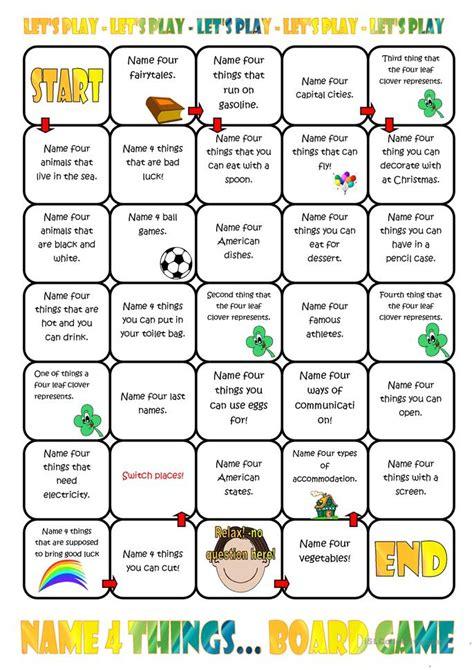 printable board games for teachers name four things board game worksheet free esl printable
