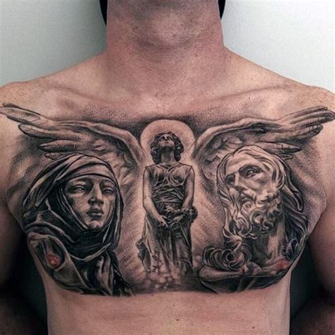 christian chest tattoos religious style chest of and