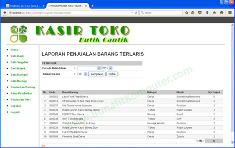 desain database penjualan barang laporan penjualan barang harian bunafit komputer