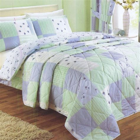 Green Quilted Bedspread Blue Green Patchwork Quilted Bedspread Tonys Textiles
