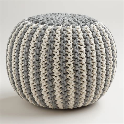 knitted pouf two tone knitted pouf world market