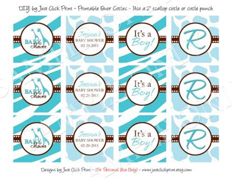 baby shower label template for favors blue safari baby shower d i y favor tags cupcake toppers printable digitaldelight