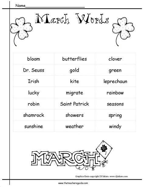 themes word list march lesson plans themes holidays and printouts