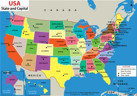 us states and capitals map usa maps 50 states