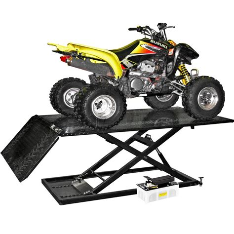 atv air lift table black widow air hydraulic atv lift table 1 500 lbs