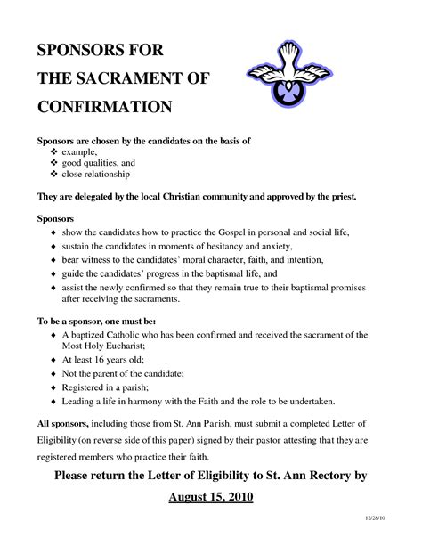 Sponsor Letter Confirmation best photos of religious confirmation letter sle