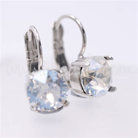 Earrings Curved Swarovski Ab Silver Rhodium earring setting for swarovski 8mm ss39 metal platinum plated buy with i