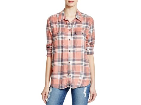 Limited Pink Plaid Shirt lyst denim trudy plaid flannel shirt in pink