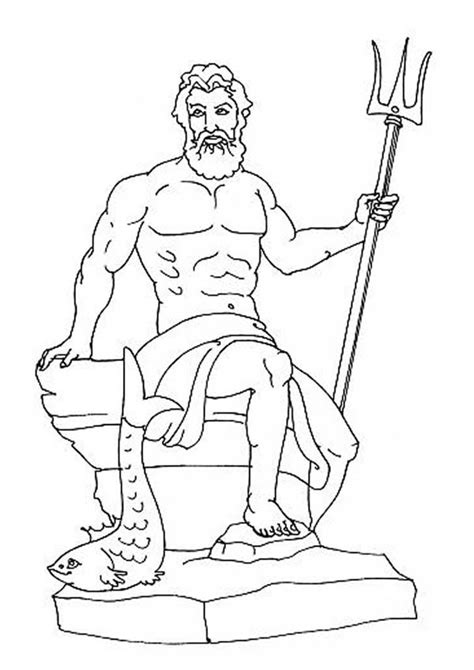 poseidon from greek gods and goddesses coloring page netart