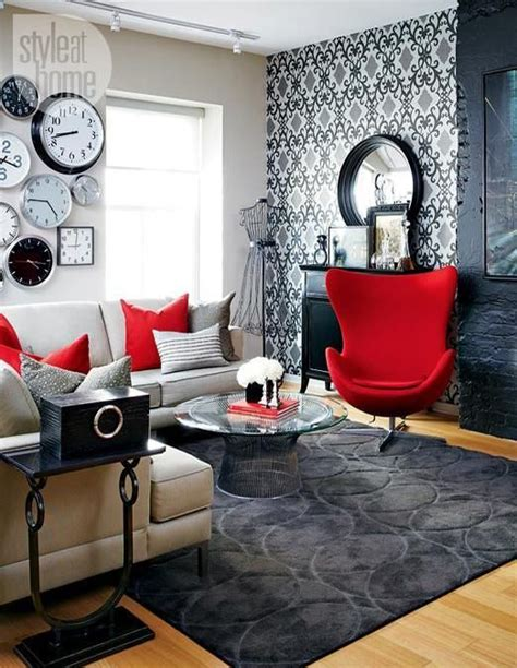 black white and red room black and white rooms with red accents brighten up loft in