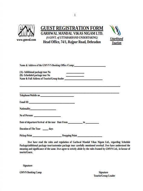 hotel registration form templates