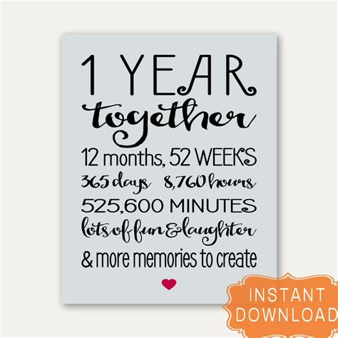 printable anniversary cards for girlfriend 1 year anniversary sign annviersary cute gift for boyfriend