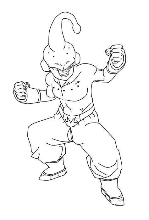 Kid Buu Coloring Pages kid buu lineart by daresx on deviantart