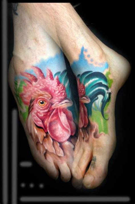 realistic foot rooster tattoo by kronik tattoo