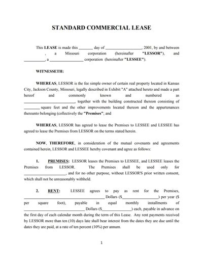 commercial lease contract template commercial lease agreement template free create