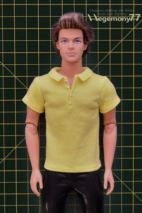 shirt pattern for ken doll ken doll in custom made 1 6 scale polo shirt with 4