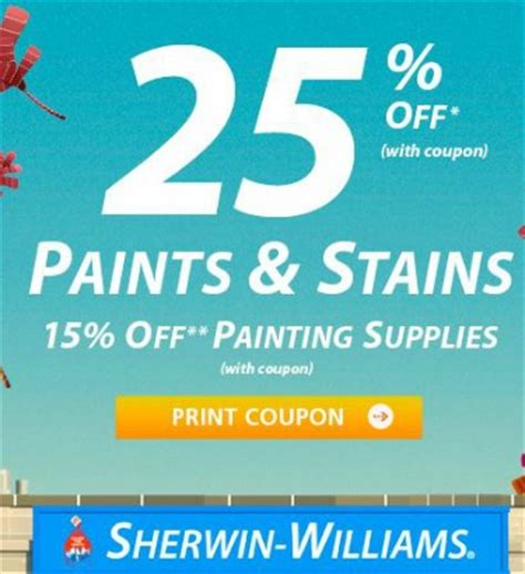 sherwin williams paint store coupons sherwin williams 25 paint or stains coupon 15