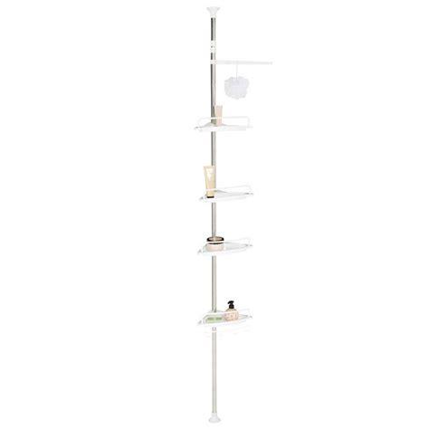 etagere dangle de douche telescopique chromee avec  tablettes blanches