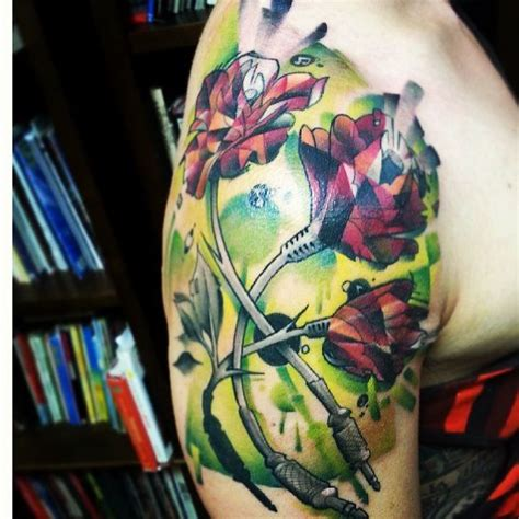 Prismatic Roses By Brandon At Outer Limits Tattoo Long Prismatic Watercolor Tattoos