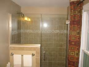 shower glass door half wall glass tile bathroom