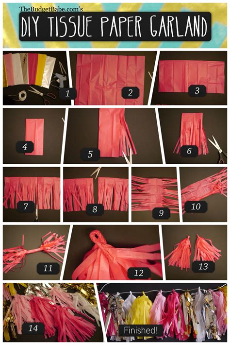 How To Make Tissue Paper Tassel Garland - diy tissue paper tassel garland the budget