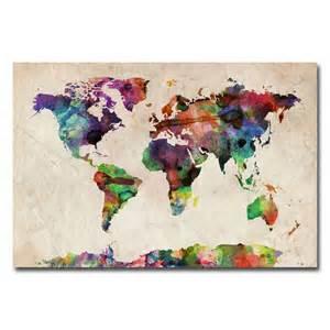 Canvas World Map by Michael Tompsett Urban Watercolor World Map Canvas Art