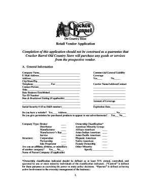 Cracker Barrel Background Check Form Cracker Barrel Vendor Application Fill Printable Fillable Blank Pdffiller