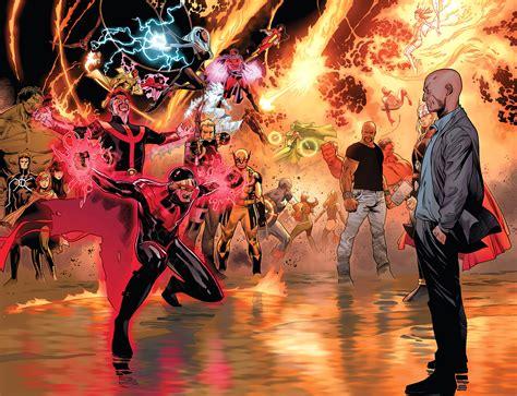 libro avengers versus x men professor x restrains phoenix five cyclops comicnewbies