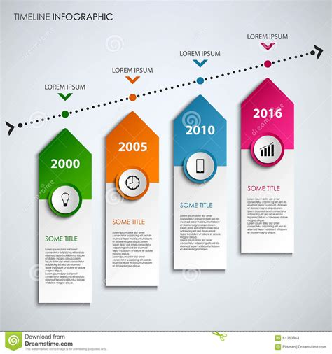colored time time line info graphic with colored design arrows template