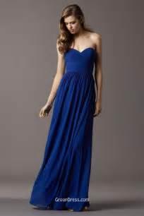 royal blue strapless sweetheart chiffon floor length long