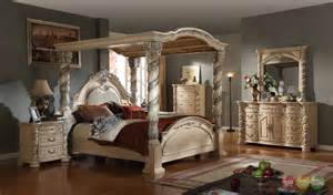 King Poster Canopy Bedroom Set Traditional King Poster Canopy Bed Leather Headboard 4 Pc