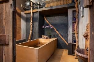 Oriental Room Dividers - bathroom with japanese wooden soaking tub