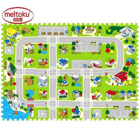 Puzzle Infantinobuild A Town 12pcs meitoku foam play puzzle floor mats for free combination baby city road brain